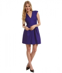 French Connection Unno Cotton Cap Dress Electric Purple at 6pm