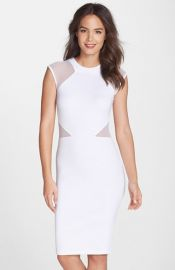 French Connection and39Vivenand39 Mesh Inset Body-Con Dress at Nordstrom