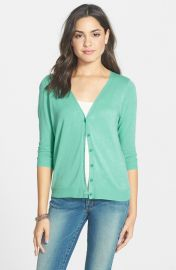 Frenchiand174 V-Neck Three-Quarter Sleeve Cardigan in green at Nordstrom