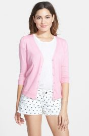 Frenchiand174 V-Neck Three-Quarter Sleeve Cardigan in pink at Nordstrom