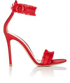 Fringed Caribe Satin Ankle-Strap Sandals at Barneys