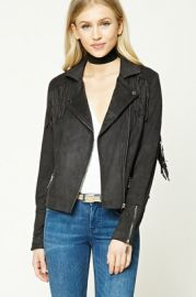 Fringed Faux Suede Moto Jacket    at Forever 21