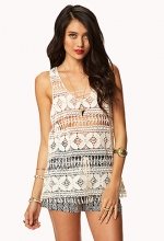 Fringed crochet tank at Forever 21