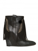 Fringed leather and suede boots by Strategia at Luisaviaroma