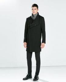 Funnel neck coat at Zara