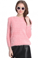 Furry pink sweater at Romwe