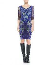 Fuzzi 34-Sleeve Floral Sheath Dress at Neiman Marcus
