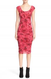 Fuzzi Rose Print Ruched Tulle Dress at Nordstrom