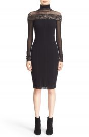 Fuzzi Sheer Lace Trim Tulle Turtleneck Dress at Nordstrom