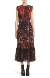 Fuzzi Sleeveless Winter Rust Floral Maxi Dress at Neiman Marcus