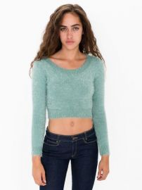 Fuzzy Cropped Sweater at American Apparel