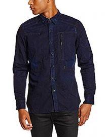 G-Star Raw Men s Powel Long Sleeve Button Down Shirt Blue at Amazon