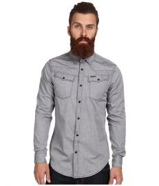 G-Star Tailor LS Shirt in Douglas Oxford Black Black at Zappos