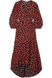 GANNI - Lindale floral-print crepe de chine wrap dress at Net A Porter