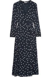 GANNI   Polka-dot chiffon wrap dress at Net A Porter