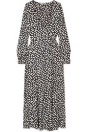 GANNI   Roseburg printed crepe de chine wrap dress at Net A Porter