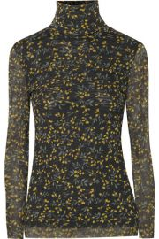 GANNI   Tilden floral-print mesh turtleneck top at Net A Porter