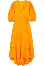 GANNI   Wilkie striped silk and cotton-blend seersucker wrap dress at Net A Porter
