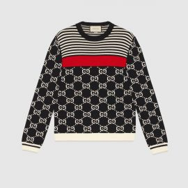 GG and stripes knit sweater at Gucci