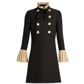 GUCCI Ruffle-Trimmed Wool And Silk-Blend Mini Dress at Matches