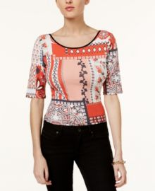 GUESS Printed Tie-Back Top red at Macys