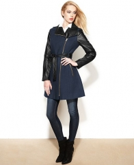 GUESS Asymmetrical Mixed-Media Faux-Leather Belted Coat in Blue at Macys
