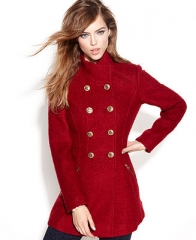 GUESS Coat Double-Breasted Funnel-Neck Boucle - Coats - Women - Macys at Macys