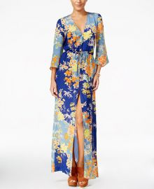 GUESS Constanze Printed Bell-Sleeve Maxi Dress at Macys