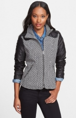 GUESS Faux Leather Sleeve Tweed Scuba Jacket at Nordstrom