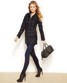 GUESS Faux-Leather-Trim Toggle Coat - Coats - Women - Macys at Macys