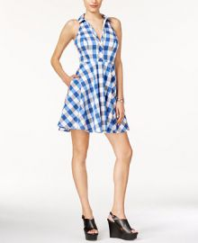 GUESS Janette Gingham Halter Shirtdress at Macys