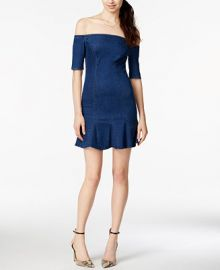 GUESS Off-The-Shoulder Denim Flounce Dress at Macys