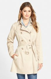 GUESS Piped Fit andamp Flare Trench Coat at Nordstrom