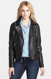 GUESS Shrunken Faux Leather Moto Jacket at Nordstrom