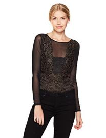 GUESS Womens Long Sleeve Emma Lace Bodysuit at Amazon