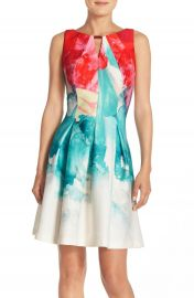 Gabby Skye Print Scuba Fit and Flare Dress at Nordstrom