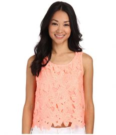 Gabriella Rocha Floral Embroidered Laser Cut Crop Top Grapefruit at Zappos