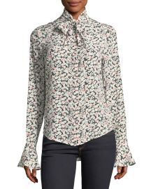 Gamble Printed Tie-Neck Blouse at Neiman Marcus