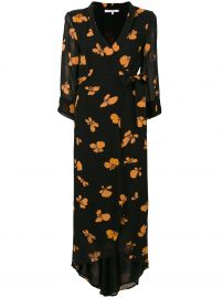 Ganni Floral Print Wrap Dress at Farfetch