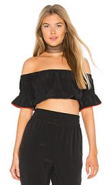 Ganni Grace Cropped Top in Black from Revolve com at Revolve