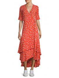 Ganni - Floral Wrap Midi Dress at Saks Fifth Avenue