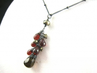 Garnet Smoky Quartz Necklace at Etsy