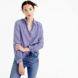 Gathered popover shirt in two-tone gingham at J. Crew