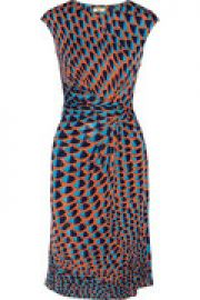 Gathered printed cady dress at The Outnet
