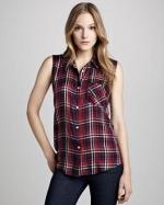 Gavin plaid sleeveless shirt at Neiman Marcus