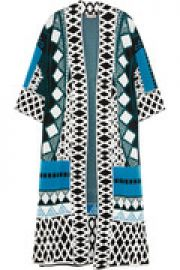 Gayla intarsia stretch-knit coat at The Outnet