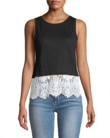 Generation Love Mila Linen Tank with Lace Hem at Neiman Marcus