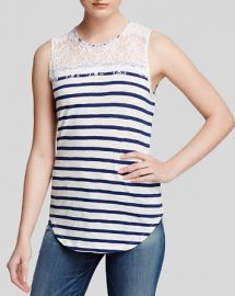 Generation Love Top - Lace Yoke Stripe at Bloomingdales