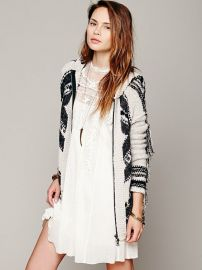 Geo Fringe Hooded Cardigan at Free People