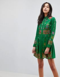 Geo-Tribal Mini Embroidered Skater Shirt Dress by ASOS at Asos